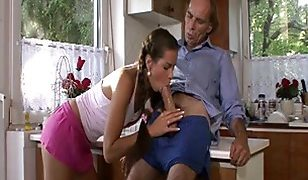 Horny dad licks and fucks his sons GF pussy